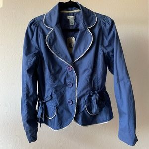 Anthropologie Sitwell Blue / White Blazer